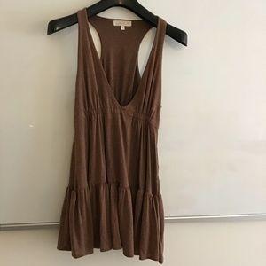 LaROK brown knit empire waist ruffled v-neck top